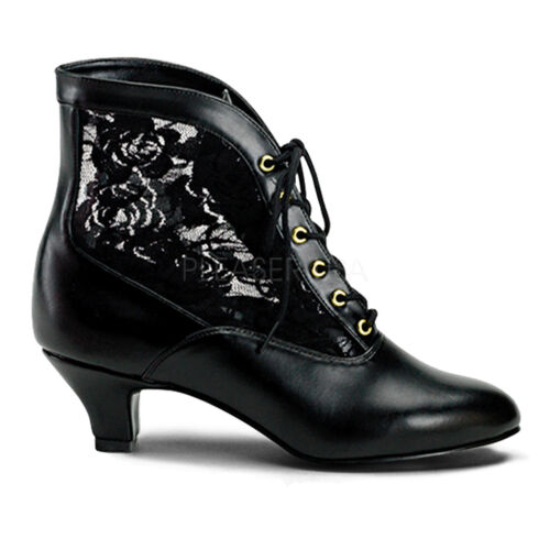 "2"" Black Lace Up Victorian Steampunk Low Granny Ankle Boots Booties Shoes"