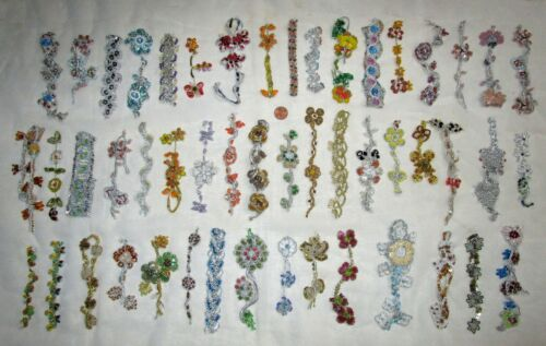 VERY RARE LOT Antique Vintage Sari TRIM LACE EDGING RIBBON 25 Pcs APPLIQUES DOLL