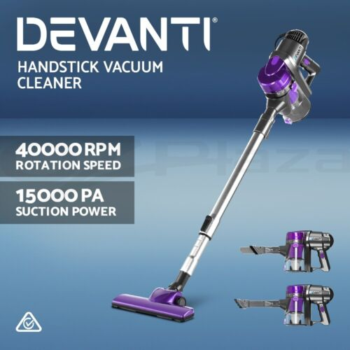 Devanti Handheld Vacuum Cleaner Stick Handstick Bagless Corded Car Vac Purple <br/> 15Kpa Strong Suction / Extendable Handle / Ultra Light