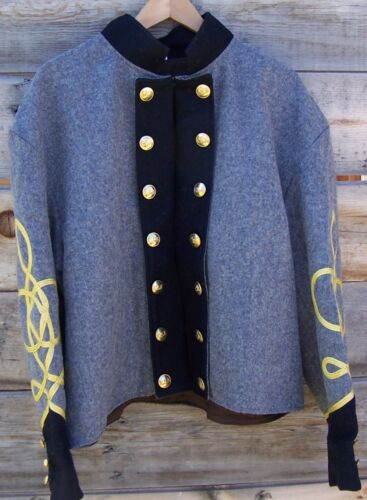 civil war confederate reenactor shell jacket with 3 row braids 48Uniforms - 36041