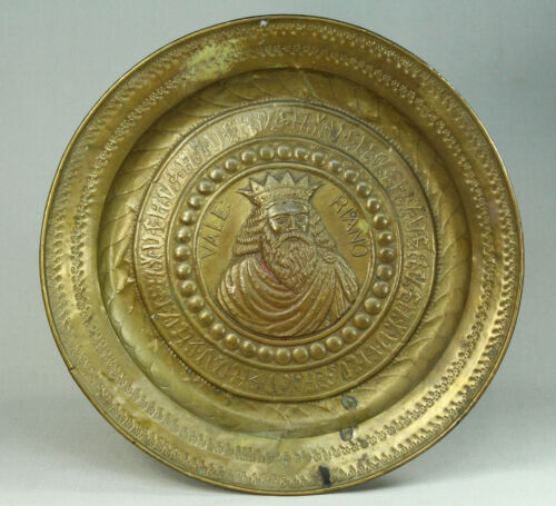 * 1500's NUREMBERG Embossed Brass Alms Offering Bowl Charger VALERIANO Portrait