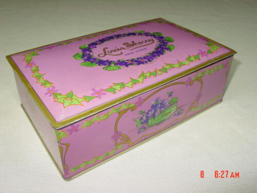 Vintage Louis Sherry Collectible Candy Tin Lavender Lilac Tin EMPTY Used Violets