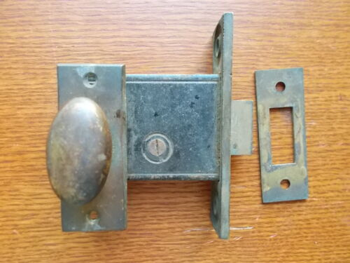 Antique Brass French or Pantry Door Mortise Lock Set c1890