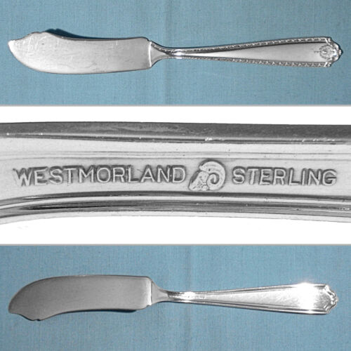 WESTMORLAND STERLING FLAT HANDLE MASTER BUTTER KNIFE ~ LADY HILTON ~ NO MONO