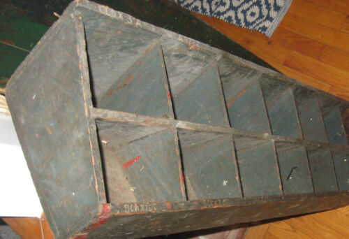 AWESOME ANTIQUE PRIMITIVE CUBBY CUPBOARD, BIN OLD MUTED BLUE PAINT  NR