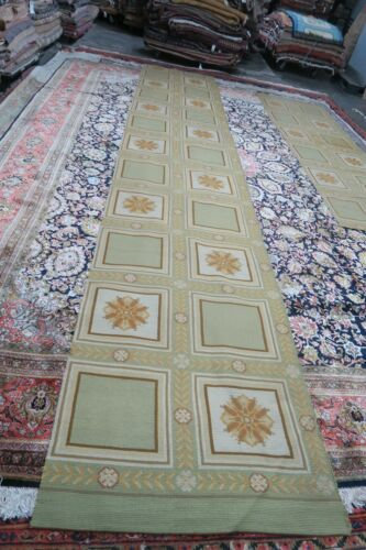 Vintage Portuguese Needlepoint Rug Runner 100%  Wool 3' x 16'9 REDUCED SIZE