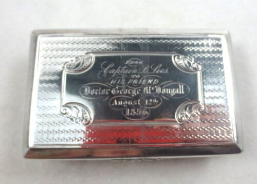 ANTIQUE NATHANIEL MILLS BIRMINGHAM STERLING SNUFF BOX ENGRAVED 1844