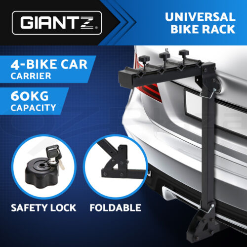 """Giantz 4 Bicycle Bike Rack Rear Car Carrier Hitch Mount  2"""" Foldable w/ Lock <br/> Fits most vehicles and bike types✔No tools needed✔"""