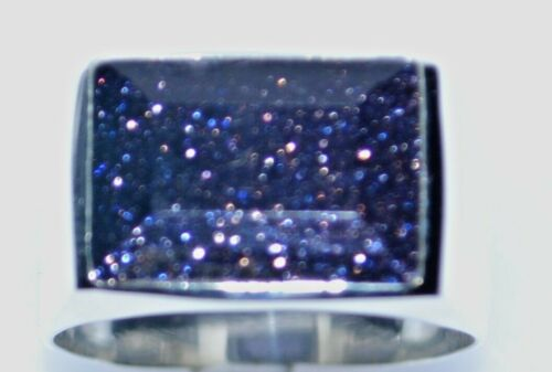 Sterling 925 SILVER Blue Sunstone Signet Mens Ring Gents Sizes N to Z+5; 6 to 15