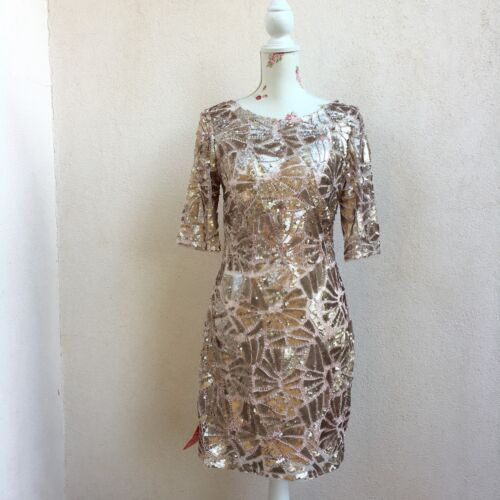 FOREVER UNIQUE Abito vestito paillettes oro rosa rose gold sequin dress UK 12
