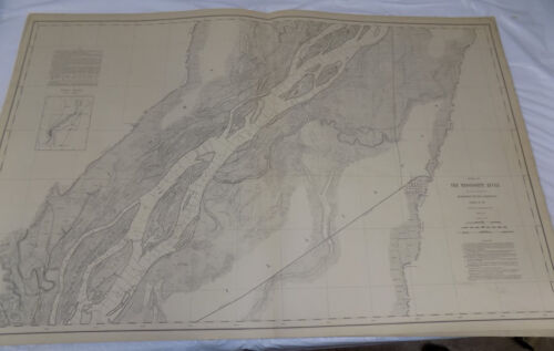 1894 Detailed Map of MISSISSIPPI RIVER/Near BURLINGTON IA & OQUAWKA IL/24x38""