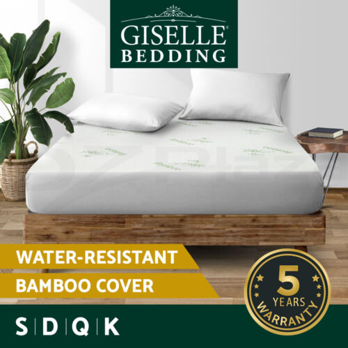 Giselle Waterproof Mattress Protector Queen Bamboo Fiber Cover Fitted All Sizes <br/> ✔300gsm Bamboo Fibre ✔Anti-bacterial ✔Anti-dustmite!