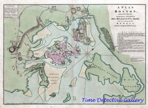 Revolutionary War Detailed Map of Boston w/ Military Camps 1776 Poster - 5 Sizes