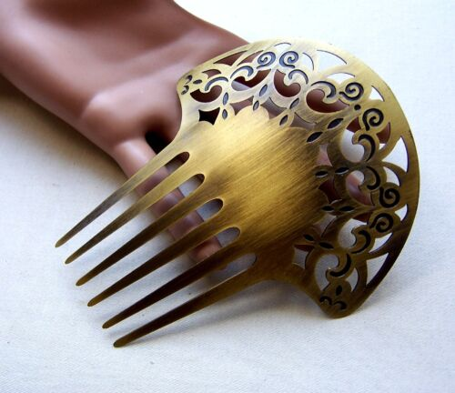 Vintage Spanish hair comb Art Deco style antiqued gold tone metal