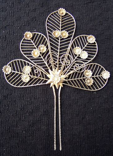 Vintage hair comb silver tone filigree Spanish style hair accessory