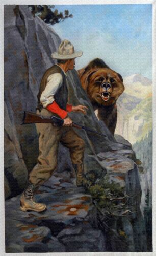 """Philip R Goodwin, Right of Way, Bear, Hunting, Rifle, antique,16""""x10"""" ART PRINT"""