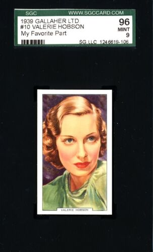 Valerie Hobson 1939 Gallaher Card # 10 - My Favourite Part - SGC 96 (MINT - 9)