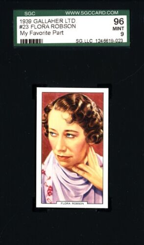 Flora Robson 1939 Gallaher Card # 23 - My Favourite Part - SGC 96 (MINT - 9)