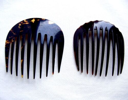 2 Victorian hair combs mourning faux tortoiseshell hair accessories