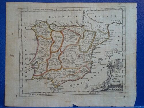 c1760 Antique Map//SPAIN AND PORTUGAL