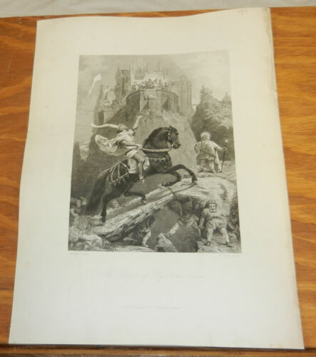 1856 Antique Print//THE KNIGHT OF LAYN AND THE GNOMES