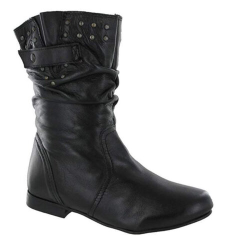 Girls Black Leather Boots Casual Flat Pull On Fashion Stud Design BARRATTS