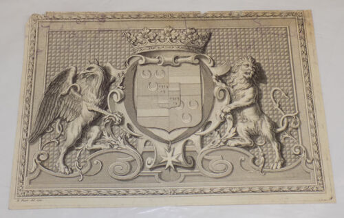 1772 Antique Print//INTRICATE COAT OF ARMS