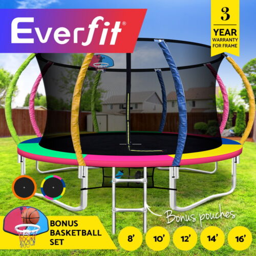 Everfit 8/10/12/14/16FT Trampoline Round Trampolines Basketball set Safety Net <br/> ✔AU standard ✔Pass 5000 hrs UV test ✔AU stock