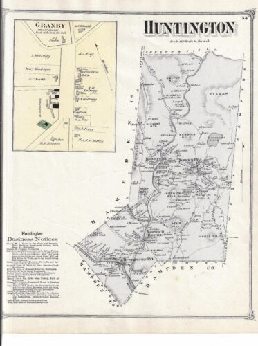 1873 HUNTINGTON, MA. MAP THAT HAS BEEN REMOVED FROM THE BEER'S 1873 ATLAS
