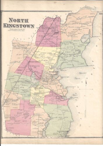 1870 NORTH KINGSTOWN, RI. MAP THAT HAS BEEN REMOVED FROM THE BEER'S 1870 ATLAS