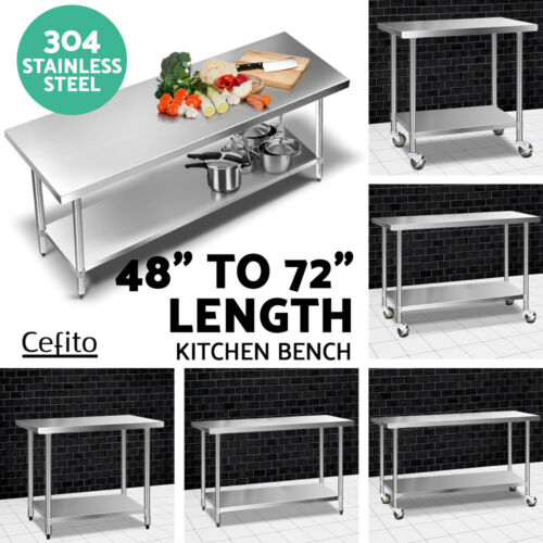 Cefito 304 Stainless Steel Kitchen Benches Work Bench Food Prep Table w/ Wheels <br/> ✔304 Food Grade✔6 Choices✔High Quality✔Top Seller