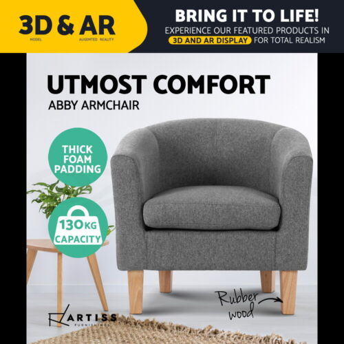 Artiss Armchair Lounge Chair Tub Accent Armchairs Fabric Sofa Chairs Wooden Grey <br/> ✔Fabric Upholstered✔Wide Soft Back✔Extra Thick Foam Pad