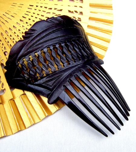 Hair comb French jet Victorian mourning hair accessory