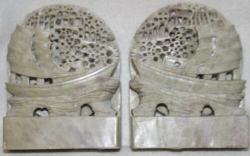 Amazing Chinese1920s Art Deco Carved Light Gray Boat Scene Soapstone Bookends