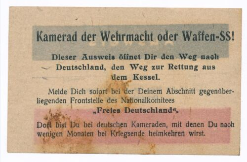 1940s WWII Rare German Leaflet for Waffen SS Soldiers STOP HITLER - FREE GERMANYPersonal, Field Gear - 36049