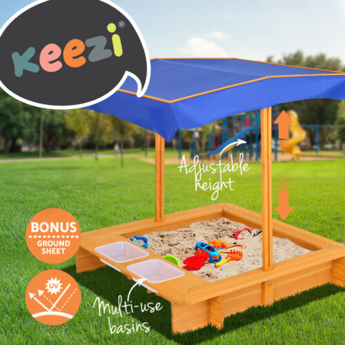 Keezi Kids Sandpit Wooden Outdoor Play Sand Pit Water Toys Box Canopy Children <br/> Hot Sale✔Premium Quality✔EN71 Approved✔Fast Delivery