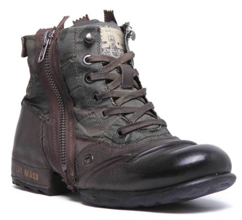 Replay Clutch Men Lace Up High Top Leather boots In Olive Brown Size UK 7 - 12