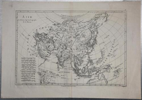 1780 Rigobert Bonne Map Asia India China Japan North South Korea Australia