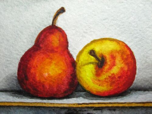 Watercolor Painting Pear Apple Fruit Still-life Food ACEO Art