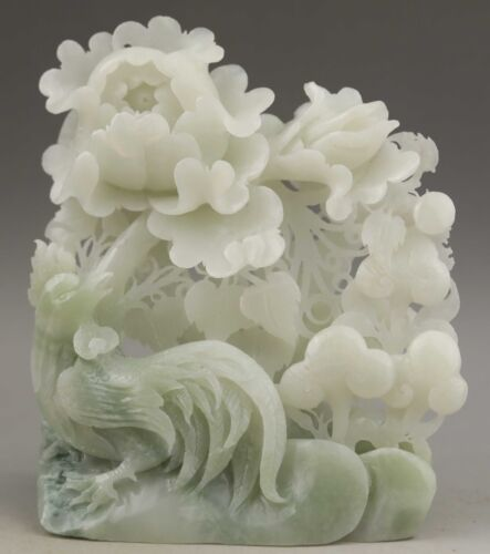 Chinese natural hetian jade hand-carved bird and flower statue 5.8 inch