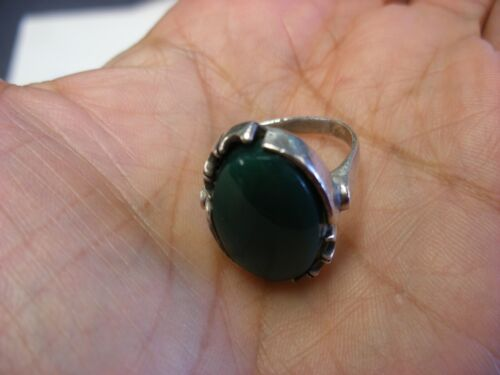 Vtg 925 Sterling Silver Green Stone Ring Size 7 1/2 # 39