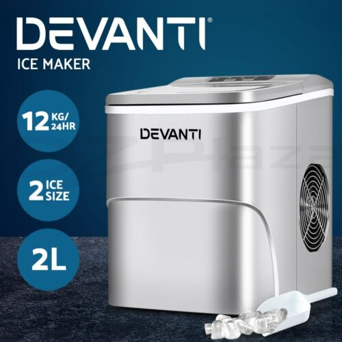 Devanti Portable Ice Maker Commercial Machine Ice Cube 2L  Bar Countertop Red <br/> 9 Cubes / 12kg/24hr / LED Control Panel / 2 Ice Sizes