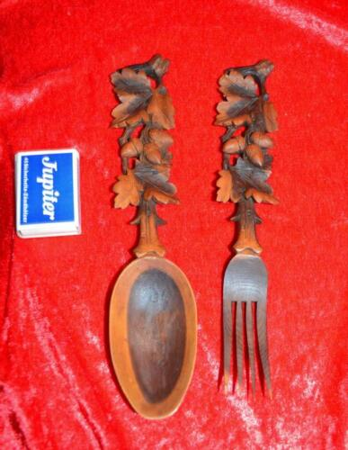 Black Forest handcarved hand cut food cutlery 19 th 7.8 inches