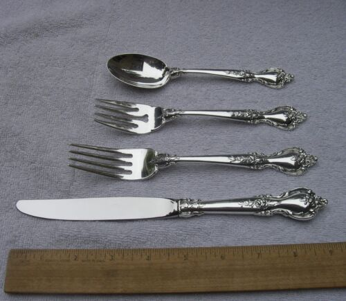 Lunt Sterling DELACOURT (1966) 4 Piece PLACE SETTING-No Mono-NR