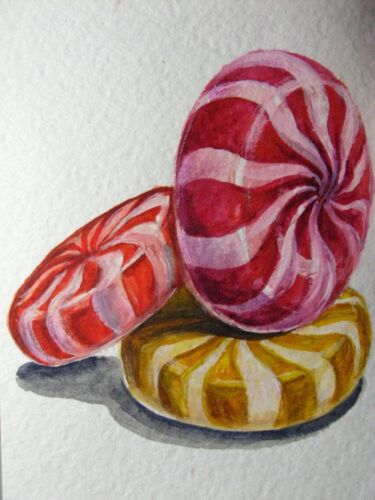 Watercolor Painting Candy Sweet Food ACEO Art
