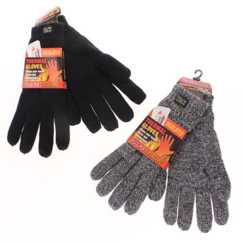Men's Gloves Polar Extreme Insulated Thermal Gloves Black or Marl Fleece Lined