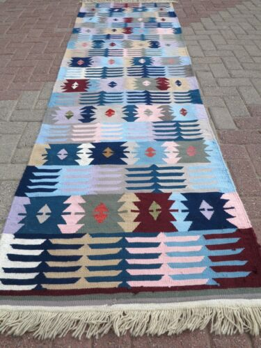 "Vintage Turkish Kilim Runner,Colorfull Runner,Long Carpet 31,8""X114,1"" Area Rug"