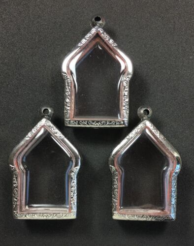 BEAUTIFUL 3 PCS STAINLESS STEEL CASE FOR PHRA KHUN PAEN THAI AMULET PENDANT