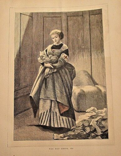 Nurse, The Red Cross, Hand Colored, Medical, Vintage 1870 Antique Art Print