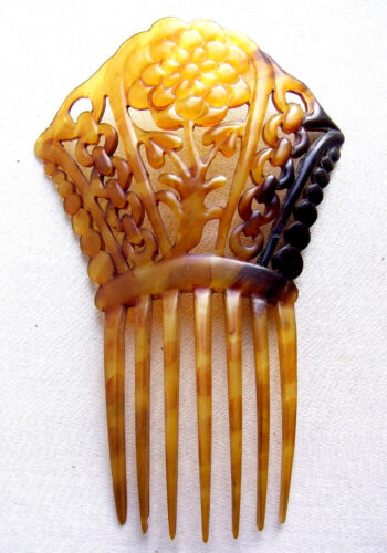 Victorian hair comb carved steer horn mantilla style hair accessory